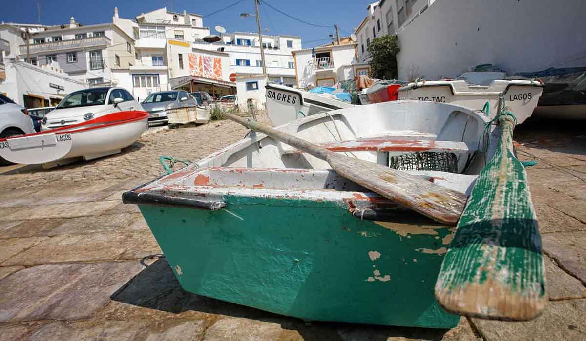 Small fishing boats on the slipway in Burgau